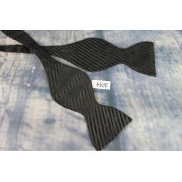 Superb Vintage Childs Small Classic Black Striped Self Tie Bow Tie Straight End Thistle Fixed Length