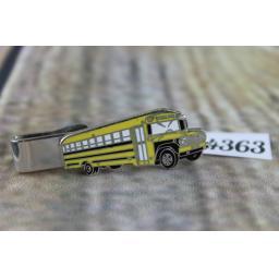 "Silver Metal And Enamel Large Yellow American School Bus Tie Clip 2"""