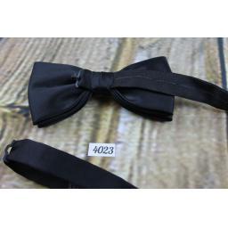 Black Satin Pre-tied adjustable Classic Black Bowtie