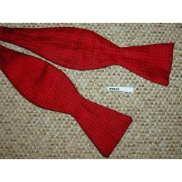 Vintage Silk Self Tie Thistle End Red With Black Polka Dot Bow Tie
