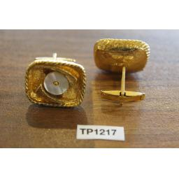 Vintage Gold Metal & Inset Mother Of Pearl Cuff Links
