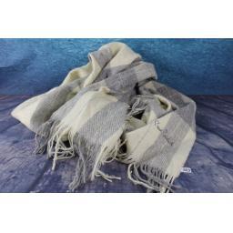 Pierre Cardin Fabulous Cream Grey Wool Checked Plaid Large Scarf