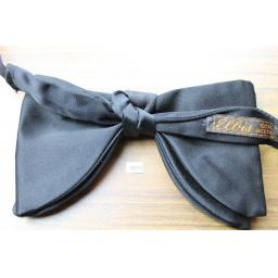Vintage 1970s Ellis Pre-Tied Drop Bow Tie Black Satin One Size Fits all