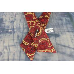 Vintage Red Paisley Covered Button Cross Over Stubby Western/Cowboy/Kentucky Bow Tie
