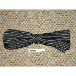 Vintage Clip On Bow Tie Black & White Stripe