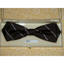 Vintage Clip On Bow Tie Brown Pink Stripes In Original Box
