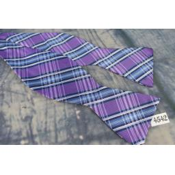 Superb Stafford Tartan Plaid Purple & Blue Self Tie Square End Thistle Bow Tie