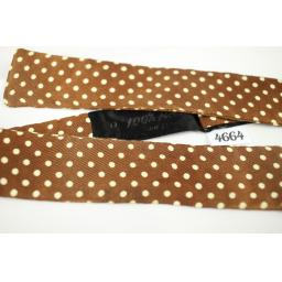 Vintage Self Tie Straight End Brown/Ivory Polka Dot Skinny Bow Tie