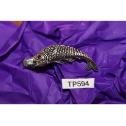 Vintage Silver Fish Trout Salmon Red Glass Stone Eye Tie Clip