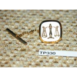 Vintage Gold Metal Tie Pin Libra/Scales/Justice Engraved WIth Chain TP330