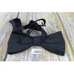 Vintage 1960s Fabulous Black Grosgrain Pre-tied Adjustable Bow Tie