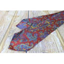 """Superb Vintage 1940s/1950s Ancient Madder Burgundy Green Blue Gold Tie 3.5"""" Wide"""