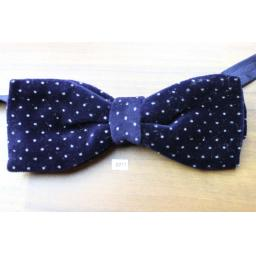 Vintage 1970s Pre-Tied Bow Tie Navy Polka Dot Velvet Adjustable Collar Size