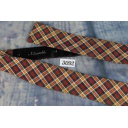 Vintage Self Tie Straight End Bow Tie Plaid Tartan