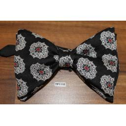 Vintage 1970s Large Black, Red & Silver Jacquard Pre-tied Adjustable Bow Tie