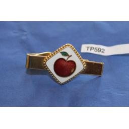 Vintage Rosy Red Apple Enamel Tie Clip