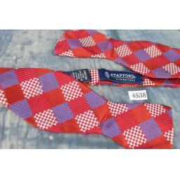 Superb Stafford Squares Pattern Burgundy Ivory & Blue Self Tie Square End Thistle Bow Tie