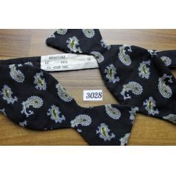 Vintage Self Tie Straight End Thistle Bow Tie Black/Grey & Gold Paisley