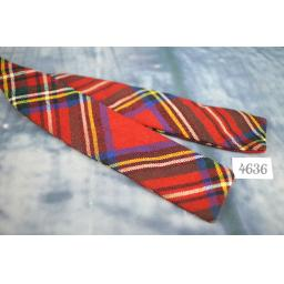 """Wool Self Tie 1.25"""" Skinny Straight End Bow Tie Red Tartan"""