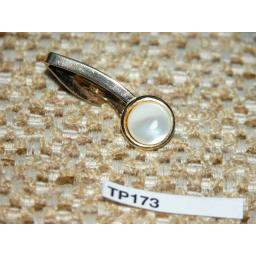 Vintage Short Gold Metal Curved Tie Clip With Pearl Glass Button End TP173