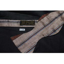 "Vintage 15"" Collar Thai 100% Silk Self Tie Straight End Thistle Bow Tie Brown & Blue"