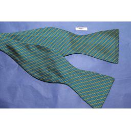 6f56d9e492cb Vintage 100% Silk Self Tie Straight End Thistle Bow Tie Turquoise/Gold  Stripe