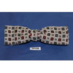 Vintage Cream Burgundy & Grey Square Pattern Square End Clip On Bow Tie