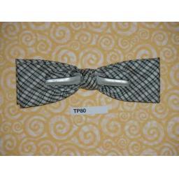 Vintage Clip On Bow Tie Black Grey & White Diamond Check