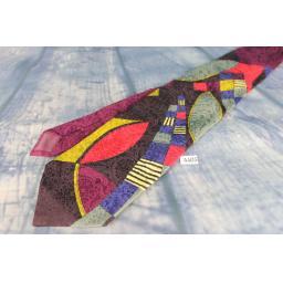 "Superb Vintage 1970s Swing Style Executive Silks Jaquard Multi Brights 100% Silk Tie 4"" Wide Kipper"