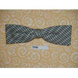 Vintage Clip On Bow Tie Black Grey & White Diamond Check
