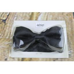Vintage Classic Black Satin Pre-Tied Bow Tie Adjustable to Fit All Collar Sizes