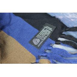 Vintage German Pure Wool Black Camel & Blue Striped Scarf