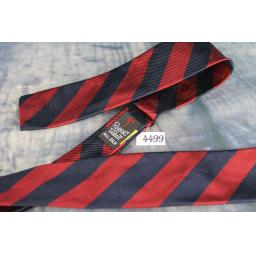 Superb Vintage Robert Talbott All Silk Navy & Burgundy Broad Striped Self Tie Square End Paddle Bow Tie