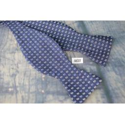 100% Silk Straight End Thistle Bow Tie Navy Repeat Pattern