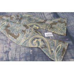 Superb Vintage Hand Block England Copley Blue & Taupe paisley Self Tie Square End Thistle Bow Tie