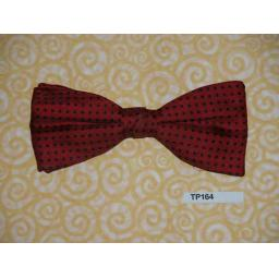 Vintage Clip On Bow Tie Red & Black Spot