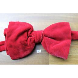 Vintage 1970s Pre-Tied Bow Tie Red Velvet Adjustable Collar Size