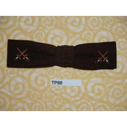 Vintage Clip On Bow Tie Small Narrow Brown With Crossed Sword Motif