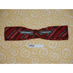 Vintage Clip On Bow Tie Narrow Red/Black/White Stripe