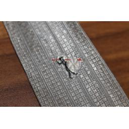 "Vintage 1960s 2"" Wide Silver Tie Embroidered Detail Narrow/Skinny Jim/Rat Pack/Deco Style"