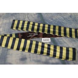 Vintage Pure Silk Straight Skinny Bow Tie broad Striped Navy & Gold