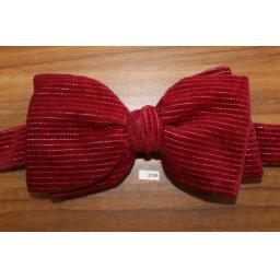 Vintage 1970s Pre-Tied Bow Tie Burgundy Velvet With Silver Pinstripe Adjustable