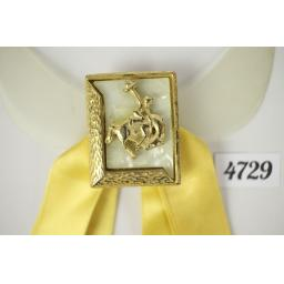 Vintage Lemon Ribbon Bucking Bronco Clip On Western/Cowboy/Kentucky/Square Dance Bow Tie