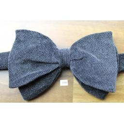 Vintage 1970s Pre-Tied Bow Tie Grey Marl Style Velvet Adjustable Collar Size