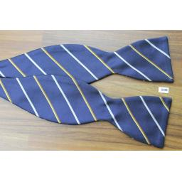 6008f19796d0 Vintage Original Laco Self Tie Bow Tie Straight End Thistle Navy Gold Ivory  Stripe