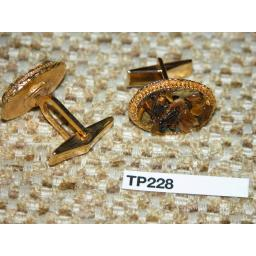 Vintage Cuff Links Gold Metal Agate Chippings / Miners Stone Setting TP228