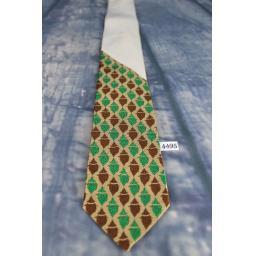 "Stunning Vintage 1940s/50s Cardinal Brocade Jacquard Skinny Tie 3"" Green Brown & Buff"