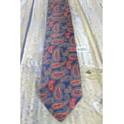 Vintage Stecks All Silk Foulard Hand Blocked 1960s Skinny Mod Era Paisley Tie