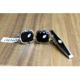 Vintage Gold Metal & Black Glass With Diamantes Cuff Links & Tie Clip Set