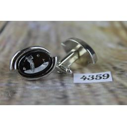 """Oval Silver Metal Cuff Links With Large Engraved Glass Golfer Centres 1"""" Length"""